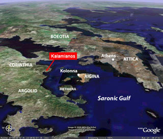 The Saronic Gulf region, showing the locations of the Kalamianos site and Kolonna, the center of a powerful Bronze Age state on the island of Aigina. Image is a Google Earth map modified by Thomas Tartaron.