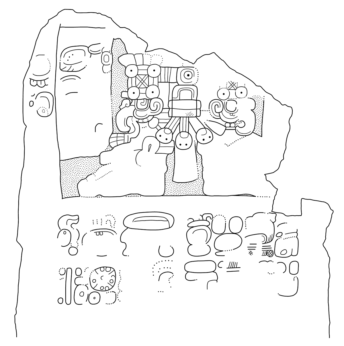 Drawing of mayan glyph